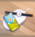 wireless charging pad vector image vector image
