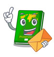 with envelope green passport in the cartoon shape vector image vector image