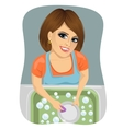 woman washing dirty dishes in kitchen vector image