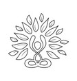 yoga lotus pose nature concept in outline style vector image