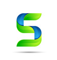 3d five 5 logo with speed green leaves Ecology vector image