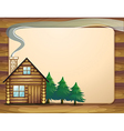 A house in front of the empty wooden template vector image vector image