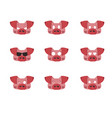 a set of emotions pig head with 9 facial vector image