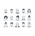 avatar line icons male and female hand drawn vector image vector image
