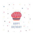 birthday cake or cupcake decorated with candles vector image vector image
