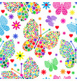 bright seamless valentine pattern of butterflies vector image