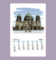 calendar sheet february month 2021 year berlin vector image