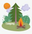 camping bonfire tree sun sky vacations activity vector image vector image