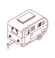 camping isometric trailer in line art vector image vector image