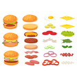cartoon burger ingredients hamburger chop bun vector image vector image