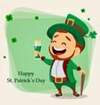 cartoon funny leprechaun holding a glass beer vector image vector image