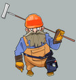 cartoon of a bearded man in helmet and working vector image vector image