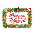 christmas frame with xmas tree and gifts border vector image vector image