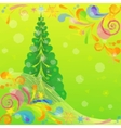 Christmas Low Poly Background with Fir Tree vector image vector image