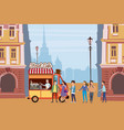 coffee truck barista colored coffee shop outdoor vector image vector image