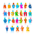 Colorful Funny Alphabet Set with Paper Men vector image