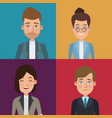 colorful sections frame set of half body executive vector image vector image