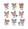 cute mouse set on vacation running for business vector image