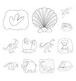 different dinosaurs outline icons in set vector image