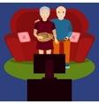 Elderly couple watch TV vector image vector image
