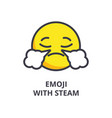 emoji with steam emoji line icon sign vector image vector image