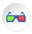 Glasses for 3d movie icon cartoon style vector image
