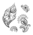 Graphic floral patterns hand-drawn for design vector image