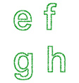 Green grass font set - lowercase letters e f g h vector image vector image