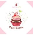 Greeting happy birthday cake-a cupcake vector image