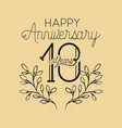 happy anniversary number 10 with wreath crown vector image vector image