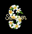 hello summer tropical background plumeria flowers vector image vector image