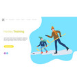 hockey training father and son child playing vector image vector image