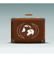 leather suitcase with a tour sticker vector image vector image