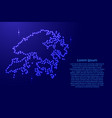 map hong kong from luminous blue star space vector image vector image