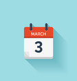March 3 flat daily calendar icon Date and vector image