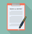 medical report and pen flat icon vector image vector image