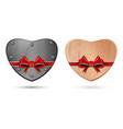 metal heart and wooden heart vector image vector image
