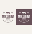 michigan state textured vintage t-shirt and vector image vector image