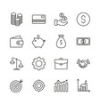 money set icon outline finance collection vector image vector image