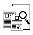 office folder documents file magnifying glass vector image vector image