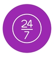 Open 24 hours and 7 days in wheek sign line icon vector image vector image