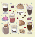 patches with different types of coffee doodle vector image vector image
