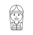 portrait woman character worker with helmet vector image vector image