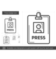 Press badge line icon vector image vector image