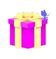 realistic volumetric purple gift box with ribbon vector image