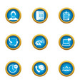 render assistance icons set flat style vector image vector image