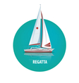 Round emblem of sailing yacht on the water with vector image