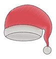 santa claus christmas hat on color crayon vector image
