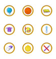 school time icons set cartoon style vector image