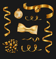 set isolated golden design elements on a black vector image